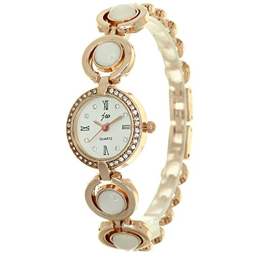 New Fashion Brand Quartz Watch Women Dress Rose Gold Stainless Steel Wristwatches Popular Casual Pearls Jewelry Bracelet Rhinestone Clock Casual Watch (Mother Of Pearl Womans Watch)
