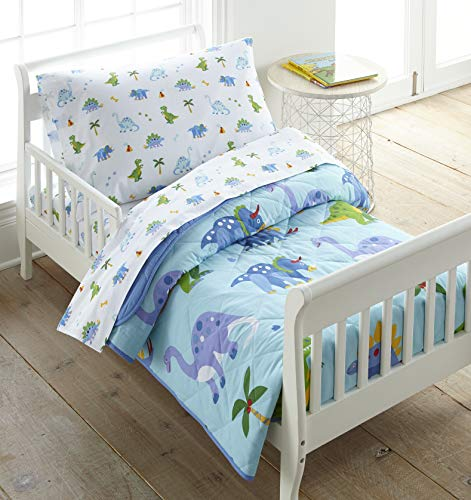 Wildkin 100% Cotton 4 Piece Toddler Bed-in-A-Bag, Bedding Set Includes Comforter, Flat Sheet, Fitted Sheet and…
