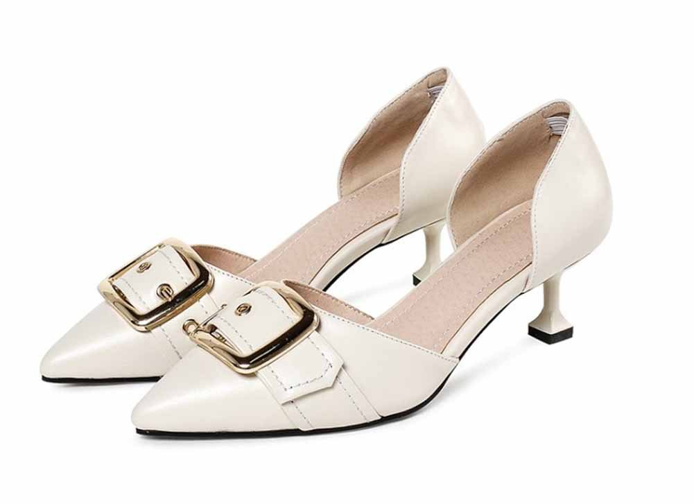 Frauen Mode Spitzen Sandalen 2018 Fruuml;hling Sommer Neue DOrsay Metall Schnalle Gericht Schuhe  37|Wei?