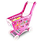 IAMGlobal 22' Shopping Cart Toy, Kids Shopping Cart for Toy Grocery, Kids Supermarket Cart, Pretend Play Toy Pretend Food Fruits Vegetable Playset with 45 Pieces for Toddlers (Pink)