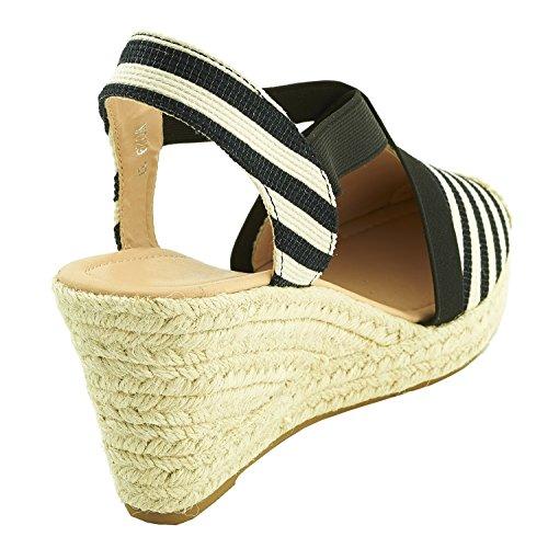 Sopily Damen Mode Schuhe Espadrilles Sandalen - Knöchelhohe - Elastischer Verschluss - Schnalle - Schnur Heel Keil Plattform 7,5 cm - Schwarz und Weiß