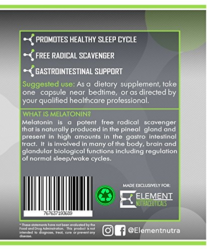 Amazon.com: MELATONIN (150ct x 10mg) by Element Nutraceuticals - Extra Strength Relaxation and Sleep Aid: Health & Personal Care
