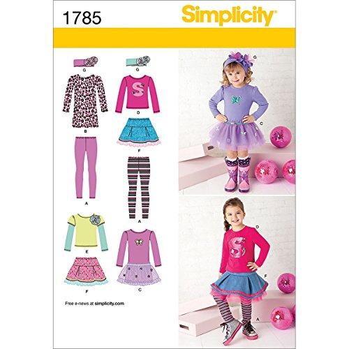 Simplicity Pattern 1785 Girls Sportswear: Skirt and Knit Dre