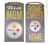 Pittsburgh Steelers Wall decor. 2 Wood plaque set , best mom and home sweet home football themes.