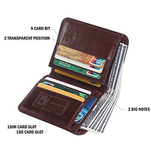 b3603a676cab BISON DENIM RFID Blocking Bifold Wallet Front Pocket Genuine ...