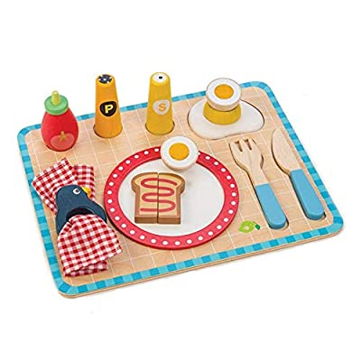 Tender Leaf Toys Breakfast Tray - Wooden Pretend Food and Sorting Tray: Toys & Games