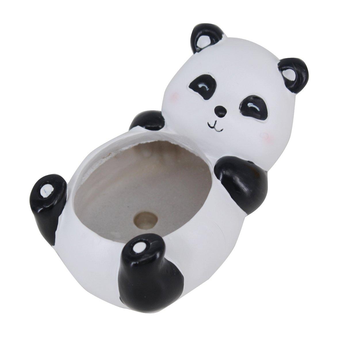 Greatflower Cute Panda Resin Animal Succulent Pot for Artificial Succulent arrangement