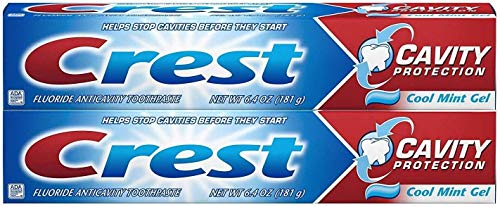 Crest Cavity Protection Toothpaste, Cool Mint Gel 6.4 oz (181g) – Pack of 2