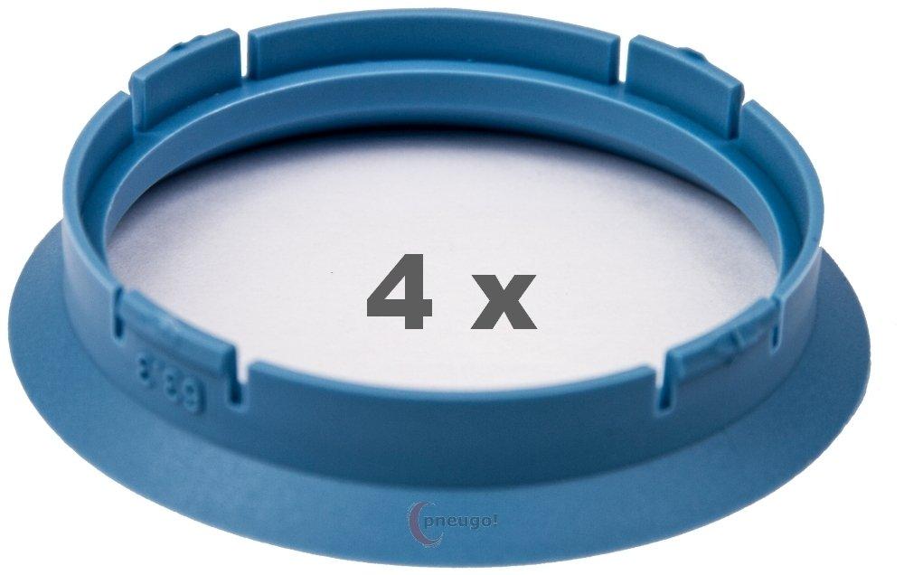 4/X Anello Di Centraggio 63.3/mm a 56.6/mm azzurro//LightBlue