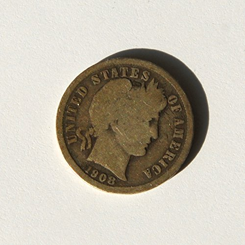 1908 United States of America Barber Head Dime Coin Very Good Details