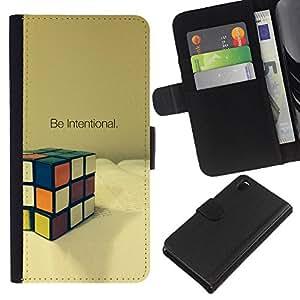 KLONGSHOP // Tirón de la caja Cartera de cuero con ranuras para tarjetas - Intencional Game Cube Matemáticas Puzzle - Sony Xperia Z3 D6603 //