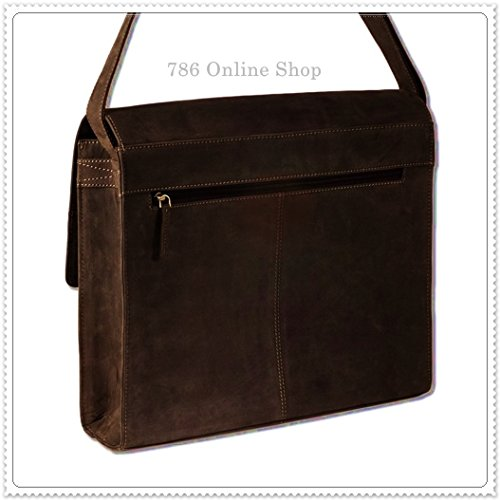 Luxus-Umhängetasche Ledertasche Collegetasche (264B) Laptoptasche Businesstasche Messenger Bag in Dunkelbraun/Taupe Neu UOv2L