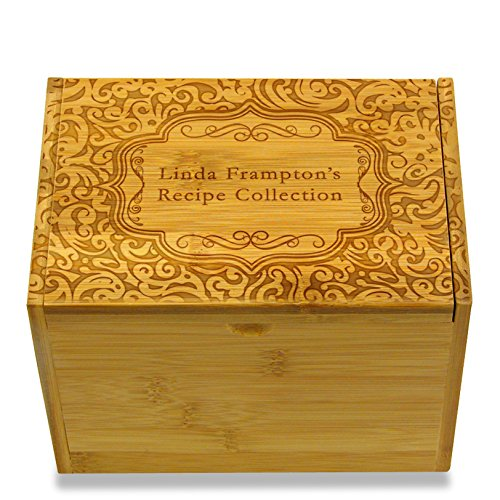 (4x6in Recipe Box by Cookbook People Bamboo for Recipe Index Cards Personalized Engraved with Name (Paisley Bamboo))