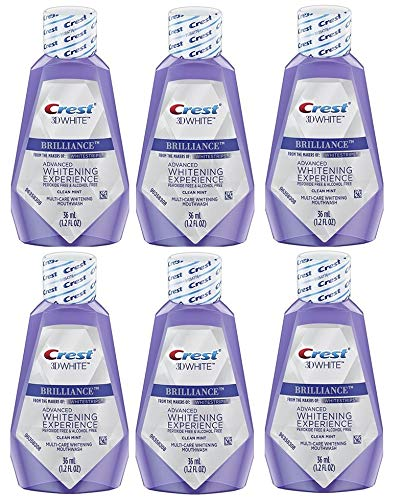 Crest 3D White Brilliance Teeth Whitening Mouthwash, Clean Mint, Travel Size 1.2 oz (36ml) - Pack of 6