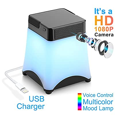 Spy Camera, [New Version] HEYCAM Mini Hidden Camera in Color Desk Lamp 1080P WiFi Nanny Cam with Motion Detective and Two Ways Communication Video Recorder Wireless Camera for Indoor Home Security by HEYCAM