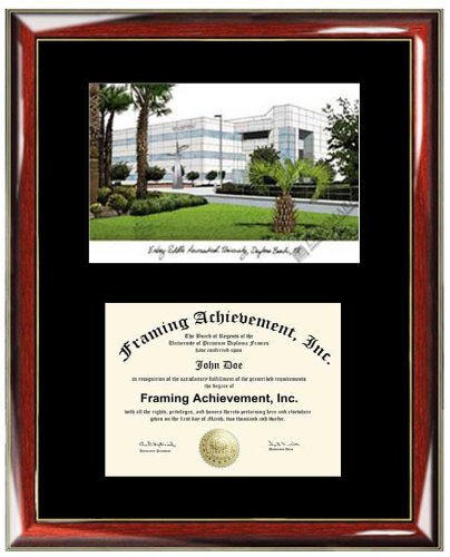 Embry-Riddle Aeronautical University ERAU Lithograph Diploma Frame - Premium Wood Glossy Prestige Mahogany with Gold Accents - Single Black Mat - University Diploma Frame (Embry Riddle Diploma Frame compare prices)
