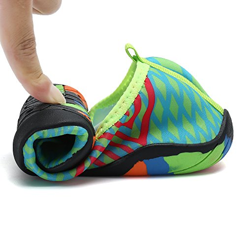 SAGUARO Men Women Quick-Dry Water Shoes Thick Sole Skin Aqua Socks Barefoot For Beach Yoga Exercise Green 4chsqFZK