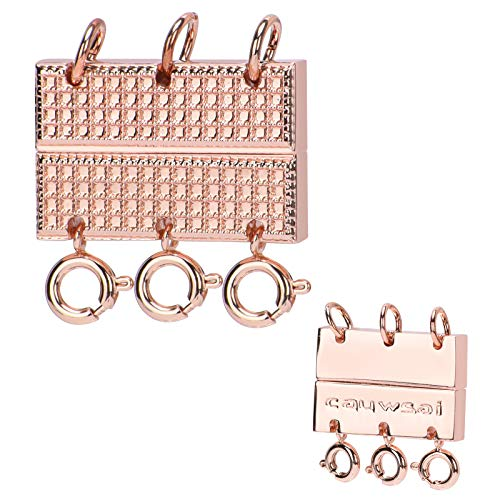 Triple Layering Clasp Jewelry Closure, Cauwsai 18K Gold Plated Magnetic Necklace Clasp Elegant Jewelry Clasp Converter for Necklaces, Bracelets, Jewelry Crafts, Rose Gold