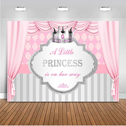 Mocsicka Little Princess Baby Shower Photo Backdrop 7x5ft A Little Princess is on Her Way Pink Curtain Silver Crown Photo Booth Backdrops Gray Stripe Photography -
