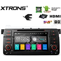 XTRONS HDMI Android 7.1 Quad Core 7 Inch HD Digital Touch Screen Car Stereo Radio DVD Player GPS for BMW E46 /320/325 Rover 75 MG ZT Reversing Camera