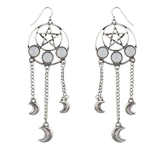 [Lux Accessories Burnished Pentagram Celestial Dream catcher Dangle Earrings] (Ladies Ring Leader Costume)