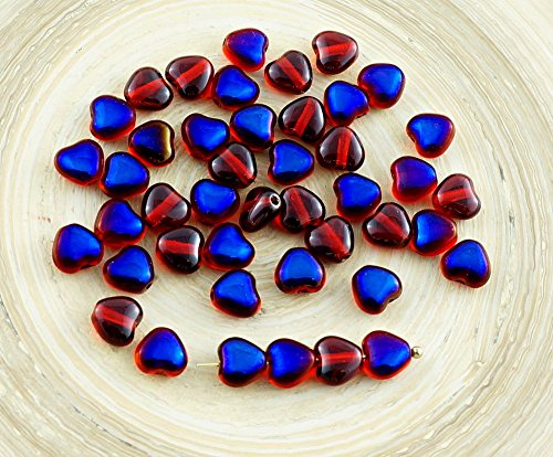 40pcs Small Crystal Ruby Red Metallic Blue Azure Half Czech Glass Heart Beads Valentines Wedding 6mm ()