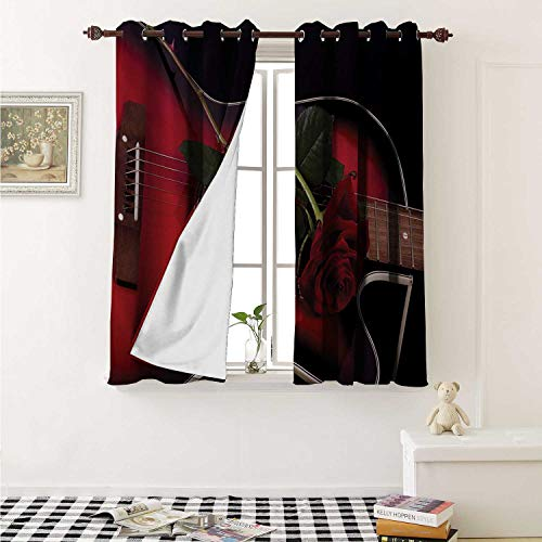 (shenglv Red and Black Waterproof Window Curtain Spanish Musician Portugal Guitar with Romance Theme Love Valentines Rose Curtains for Party Decoration W84 x L72 Inch Ruby and White )