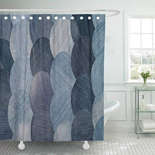 Emvency Fabric Shower Curtain with Hooks Blue Abstraction Jeans Patchwork Pattern Denim Details Homemade Old Patch Vintage 72