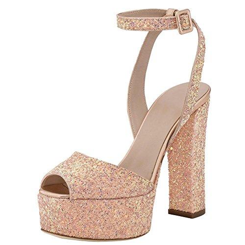 Vestido 44 Bomba Partido Sandalias Champagne De Plataforma Boda Glitt Mujeres champagnecolor Color Zapatos Zhang8 Boca La Pescado qZ8ZYF