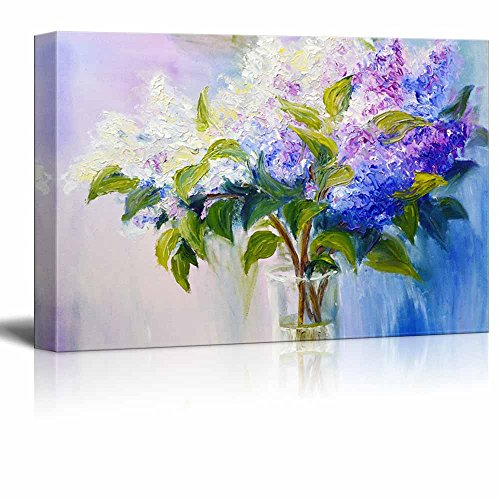 Canvas Prints Wall Art - Lilacs in a Vase in Oil Painting Style | Modern