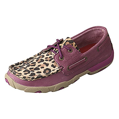 Twisted X Boots Womens Ladies Purple Leopard Bomber Boat Shoe 6.5 B(M) US (Bomber Deck)