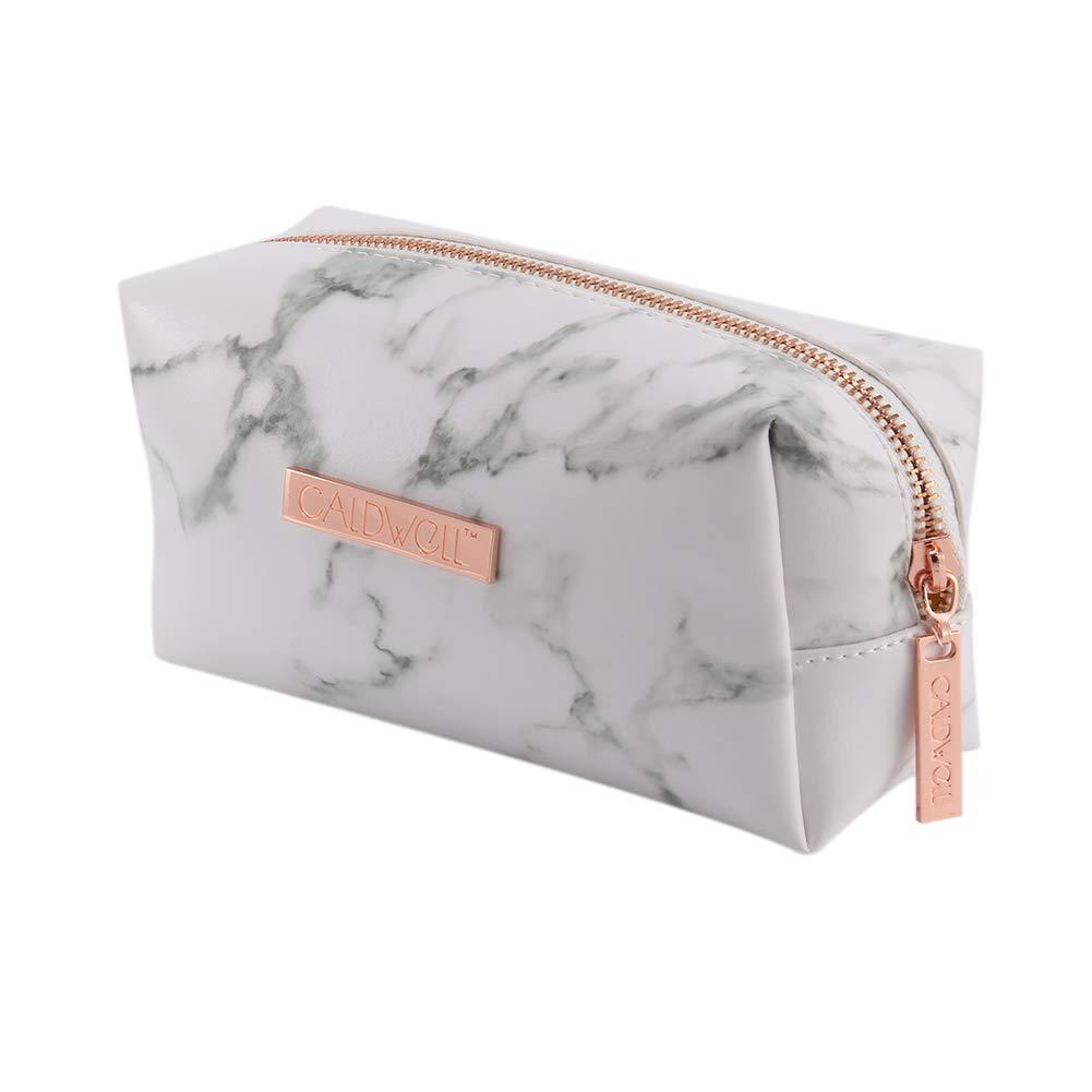 Majome Ladies Pinceaux de maquillage de sac de stockage de marbre Motif cuir PU pochette pour voyage extérieur (Light Golden With logo)