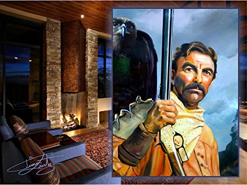 TOM SELLECK HAND PAINTED OIL IN CUSTOM HAND MADE ITALIAN LEATHER FRAME