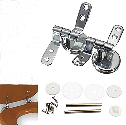 Alloy Replacement Toilet Seat Hinges Mountings Set Chrome with Fittings Screws For Toilet Accessories by mkki