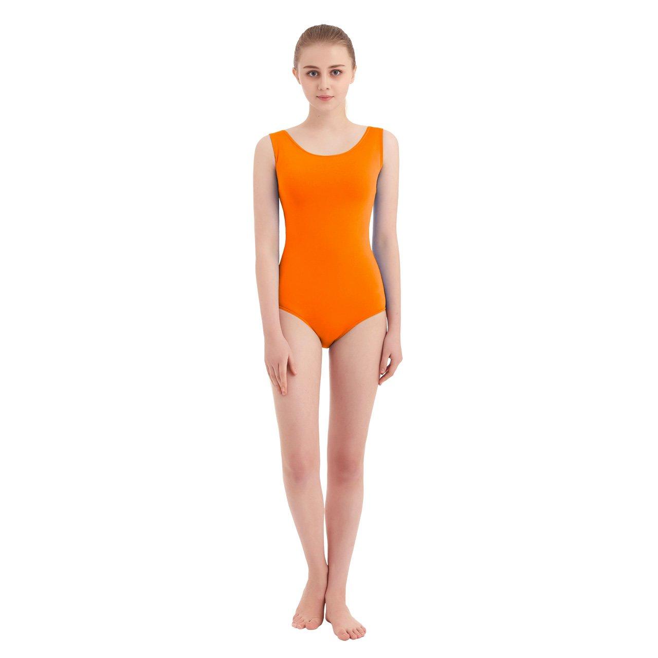 orange SUPRNOWA Women's Scoop Neck Lycra Spandex Sleeveless Tank Leotard