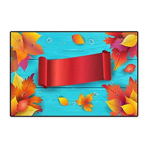 Door Mats for Inside Non Slip BackingAutumn Thankgiving Holiday Wallpaper W39.37 xL62.99 (Mat Waterhog Rectangle Entrance)