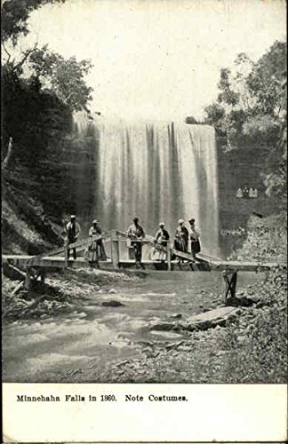 Minnehaha Falls in 1860 Note Costumes Minneapolis, Minnesota Original Vintage Postcard -