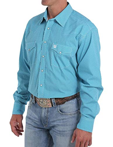Cinch Men's Geo Print Snap Long Sleeve Western Shirt Teal Small