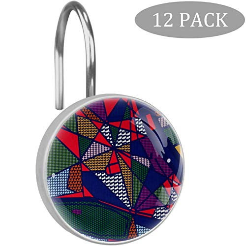 Shower Curtain Hooks Rings Rich Jewel Tone Stripe Pattern Decorative Crystal Glass Bathroom Decor - Set of 12