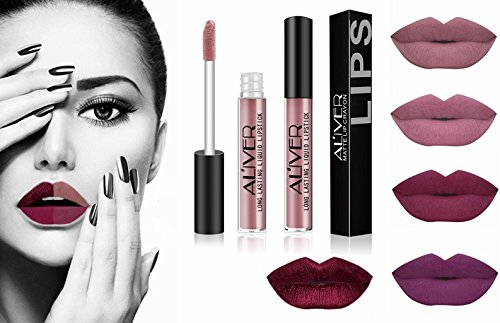 AL'IVER Matte Liquid Lipstick 5 PCs Lip Stains Waterproof Durable Long Lasting Lip Gloss Set Moisturizing Lipstick Lip Tints Set