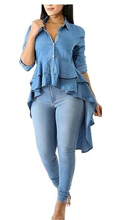 bc85e2a292 Jmwss QD Womens Long Sleeve Slim Fit High Low Hem Denim Shirt Dress Denim  Blue XS
