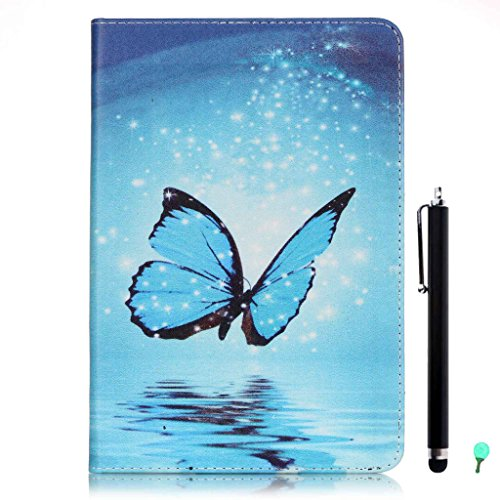 iPad Air/Air2 Case, iPad 5/6 Case, fengus Ultra Slim PU Leather Cover Stand Flip Case Cover with Cute Pattern Design Back Shell for Apple iPad Air/iPad Air 2+Stylus+Dust plug-Moonlight Butterfly