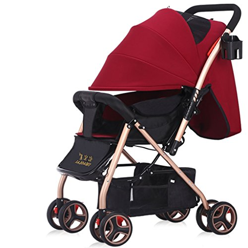Prams/Strollers Baby Trolley High Landscape Can Lie Down Ultra-light Portable Fold 1-3 Years Old Child Baby Baby Carriage Steel Pipe Shocking Proof (Color : Red)