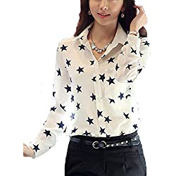 FCYOSO Women Casual Lapel Collar Star Printed Blouse Top Shirt (US,S/Asia,M) White