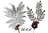 Christmas Picks - Set of 12 Silver Leaf Pics with Red Holly Berries and Pine Cones - Artificial Holiday Picks