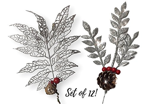 Christmas Picks - Set of 12 Silver Leaf Pics with Red Holly Berries and Pine Cones - Artificial Holiday - Xmas Picks