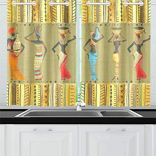 Yumoing Beautiful African Kitchen Curtains Window Curtain Tiers For Café Bath Laundry Living Room Bedroom 26 X 39 Inch 2 Pieces Home Kitchen