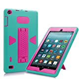 All-New Amazon Fire 7 2017 Case, Eontry Shockproof Heavy Duty Full Body Cover Rubber Plastic Protective Case with Build-in Kick Stand For All-New Fire 7 (7th Gen 2017 Release) (Turquoise + Rose)