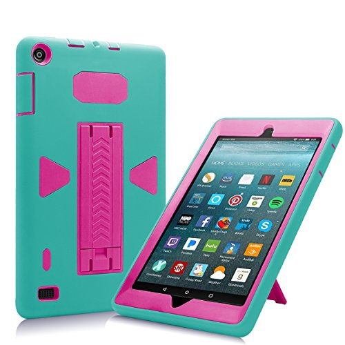 All-New Amazon Fire 7 2017 Case, Eontry Shockproof Heavy Duty Full Body Cover Rubber Plastic Protective Case with Build-in Kick Stand For All-New Fire 7 (7th Gen 2017 Release) (Turquoise + Rose) by Eontry