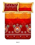 Bombay Dyeing Colours of India 144 TC Cotton Double Bedsheet with 2 Pillow Covers - Marron